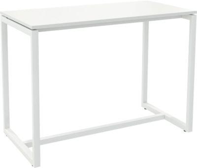Paperflow statafel Easy Desk, metaal, met nivelleringsschroeven, h 1100 mm, wit/wit