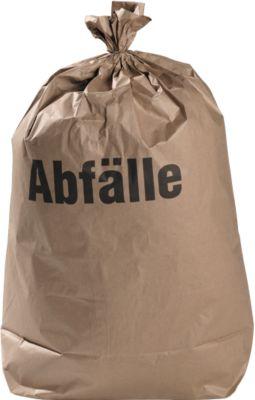 Papieren afvalzakken, biologisch afbreekbaar, bruin, 120 liter, B 700 x H 950 mm, 100 stuks