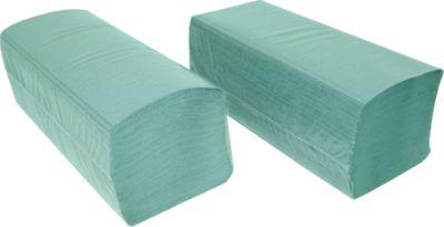 Papierhandtücher SCHÄFER SHOP Zick-Zack-Falzung, 1-lagig, L 250 x B 210 mm, reißfest, 5000 Blatt, grün
