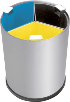 Papierkorb, zur Abfalltrennung auf dem Tisch, 3 Inneneimer, Edelstahl