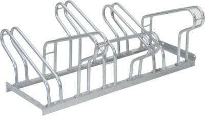 Parkeerbeugel, 2-zijdig, voor banden tot B 55 mm, B 1050 x D 3200 x H 500 mm, B 1050 x D 3200 x H 500 mm, thermisch verzinkt staal, 6 parkeerplaatsen, gemonteerd