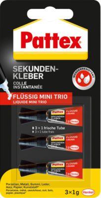 Pattex Sekundenkleber Classic flüssig Mini Trio, 3 x 1 g