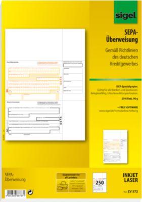 PC-SEPA-Überweisung sigel® ZV570, 250 Stück
