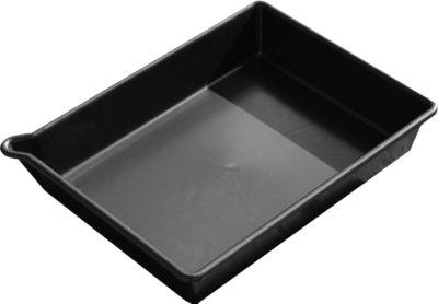 PE lekbak, inhoud 16 liter, zonder gaasrooster, L 530 x B 400 x H 100 mm, zwart