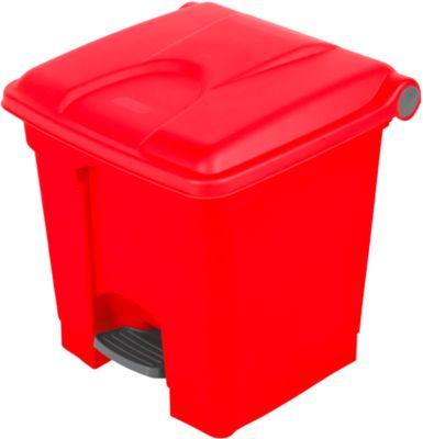 Pedaal afvalbak van polyethyleen 30 l, rood