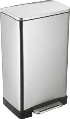 Pedaalemmer, edelstaal, rechthoekig, 30 liter