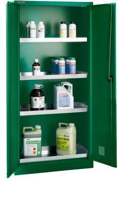 Pesticide- en chemicaliënkast, B 950 x D 500 x H 1950 mm, 4 lekbakken, groen