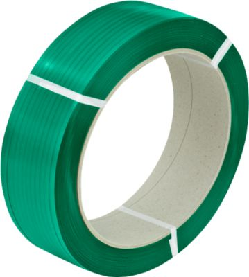 PET-polyester omsnoeringsband 12,5 x 0,60 mm x 2500 m, groen-embossed, kern: 406 mm