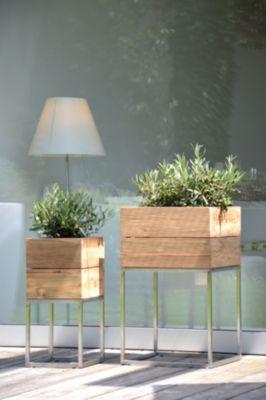 Pflanzbehälter Jan Kurtz Mini Garden, Edelstahl/reyceltes Teak-Holz, B 400 x T 400 x H 650 mm