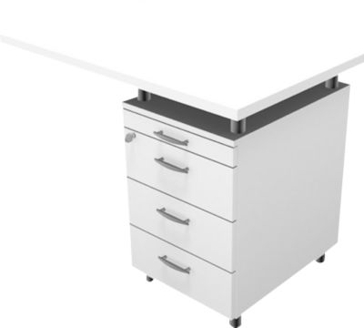Phenor aanbouwtafel met ladeblok, wit