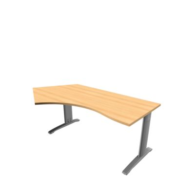 Phenor Pentagon-bur.tafel, hoek links, h 720 x b 200/1600 x d 1090/800 mm, beukendecor