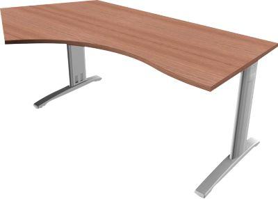 Phenor Pentagon-bur.tafel, hoek links, h 720 x b 200/1600 x d 1090/800 mm, noten Canalett-decor