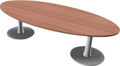 PHENOR vergadertafel, ovaal, B 2400 x D 1100 x H 740 mm, noten Canalettodecor
