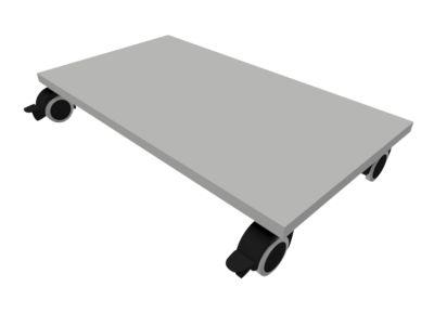 Plaat met wieltjes, B800, grijs