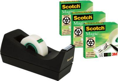 Plakband Magic Tape  810, transparant, 3 rollen + 1 tafelafroller, gratis