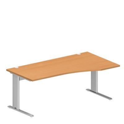 PLANOVA BASIC bureau, C-onderstel, vrije vorm, aanbouw rechts, b 1800 x d 800/1000 mm, beukendecor, onderstel witalu