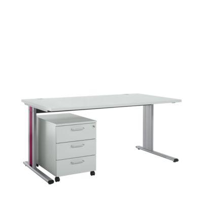 Planova Basic Schreibtisch 1600 x 800 mm + Rolly 333, lichtgrau/bordeauxviolett