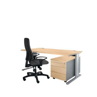 Planova Basic Schreibtisch und Rollcontainer 1233, Ahorn-Dekor/weißalu