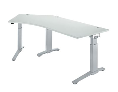 PLANOVA ergoSTYLE bureau 135°, C-onderstel, vrije vorm, aanbouw links, 1-traps elektr. hoogteverstelbaar, b 2165 mm, lichtgrijs/witalu