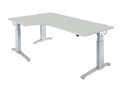 PLANOVA ergoSTYLE hoektafel 90°, C-onderstel, vrije vorm, aanbouw links, handmatig hoogteverstelbaar, b 2000 mm, lichtgrijs/witalu