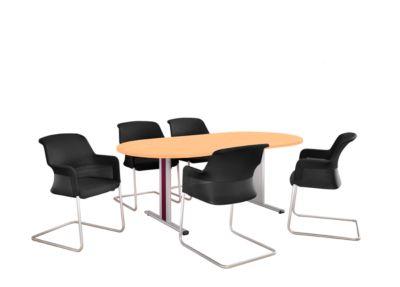 Planova vergadertafel, ovaal, B 2000 x D 1000 x H 717 mm, beukendecor, accentlijsten bordeaux-violet RAL 4004