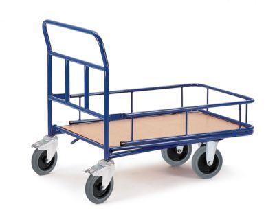 Plateauwagen met rand, 2 dubbelstop wielen