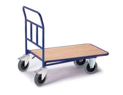 Plateauwagen zonder rand, 2 dubbelstop wielen