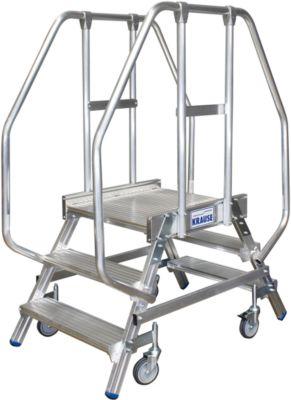 Podestleiter, fahrbar, beidseitig, 2 x 3 Stufen