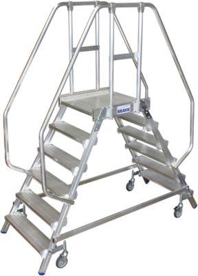 Podestleiter, fahrbar, beidseitig, 2 x 6 Stufen