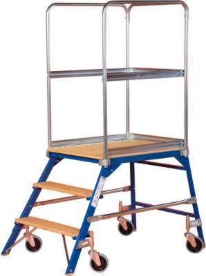 Podestleiter, frei rollbar, einseitig, Stufen Buche, Gr. 3, 37 kg