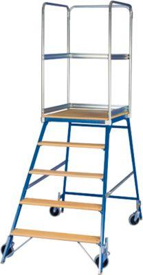 Podestleiter, frei rollbar, einseitig, Stufen Buche, Gr. 5, 42 kg