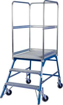 Podestleiter, frei rollbar, einseitig, Stufen Gitterrost, Gr. 3, 44 kg