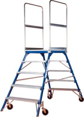 Podestleiter, frei rollbar, einseitig, Stufen Gitterrost, Gr. 5, 64 kg