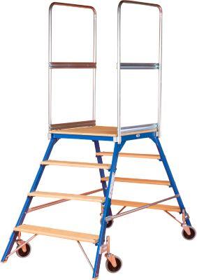 Podestleiter, frei rollbar, zweiseitig, Stufen Buche, Gr. 4, 45 kg
