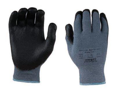 Polartex elastaan/polyester gebreide handschoen, met nitril microschuimcoating, 12 paar, maat L