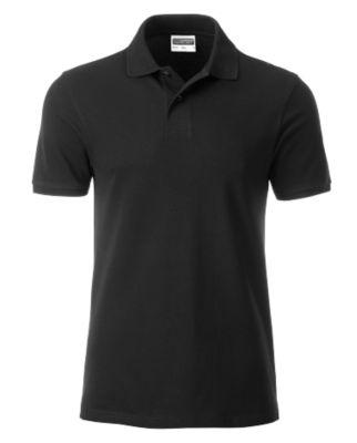 Poloshirt Herren Men's Basic, Biobaumwolle, 4-Knopfleiste, Werbedruck, black, Gr. XXL