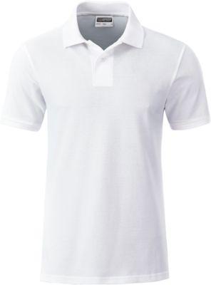 Poloshirt Herren Men's Basic, Biobaumwolle, 4-Knopfleiste, Werbedruck, white, Gr. M