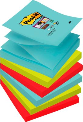 Post-it® Haftnotizen Miami Collection, Z-Notes, 76 x 76 mm, 6 Blöcke a 90 Blatt