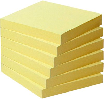 POST-IT Haftnotizen, recycling Papier, 76 mm x 76 mm, 6 x 100 Blatt, gelb