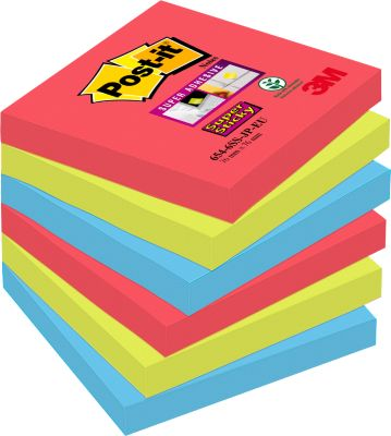 POST-IT Haftnotizen Super sticky, 76 mm x 76 mm, 90 Blatt, 6er Pack, Bora Bora Collection