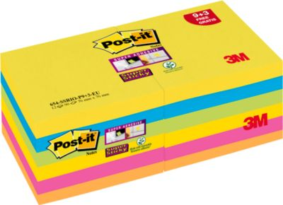 Post-it® Haftnotizen Super Sticky Notes 9 Blöcke + 3 Blöcke GRATIS