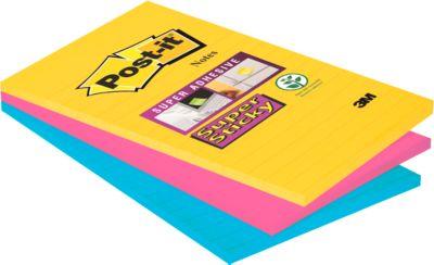 Post-it® Haftnotizen Super sticky, Rio de Janeiro Collection, 101 x 152 mm liniert, 90 Blatt, 3 Blöcke