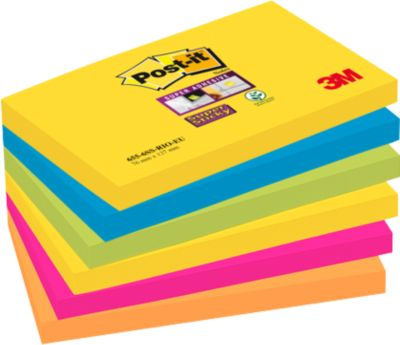 Post-it® Haftnotizen Super sticky, Rio de Janeiro Collection, 127 x 76 mm, 90 Blatt, 6 Blöcke