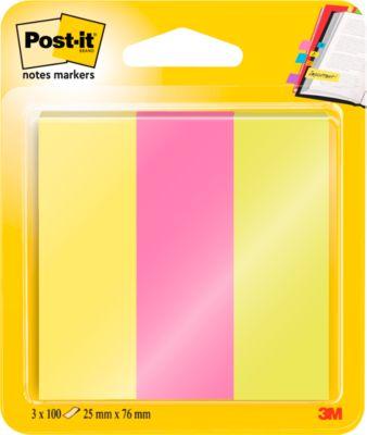 Post-it® Page Marker 671-PBO, 3 x 50 Blatt Haftnotizen in unterschiedlichen Farben, B 73 x H 22,2 mm