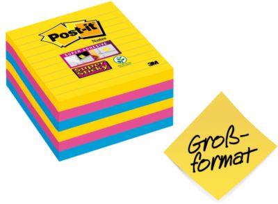 Post-it® Super kleverige Nota's 675-S6R Rio de Janeiro, 101 x 101 mm, 6 x 90 vellen, gelinieerd, gekleurd, met een dikte van 6,5 mm.
