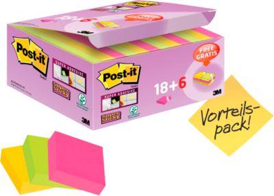 Post It® Super Sticky Notes, 48 x 48 mm, 18 blokken + 4 blokken gratis