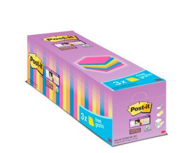 Post-it® Super Sticky Notes 654SE24P Bespaarpakket, 76 x 76 mm, 24 x 90 vellen, diverse kleuren, blanco, met een dikte van 1,5 mm.