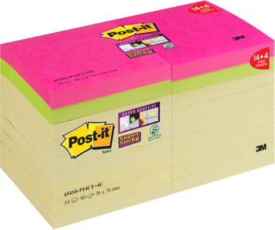 Post-it® Super Sticky Notes 654SS-P14CY+, 76 x 76 mm, 14 x 90 Blatt gelb + jeweils 2 x 90 Blatt neongrün bzw. ultrapink, blanko
