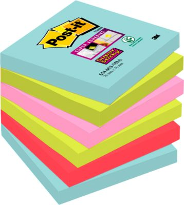 Post-it® Super Sticky Notes, Miami-Farbkollektion, Format 76 x 76 mm, 6 Blöcke