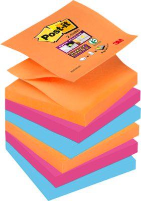 Post-it® Super Sticky Z-Notes, navulblokken, 76 x 76 mm, Bangkok (neonoranje, ultraroze, ultrablauw) 6 blokken/90 vellen